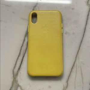 Apple yellow leather case for apple x